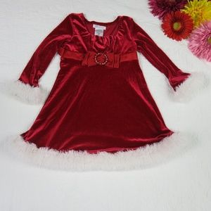 Bonnie Jean sz5 Red Holiday Dress with Faux Fur